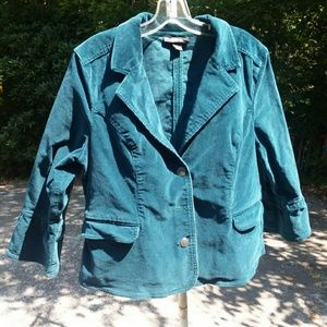 Style & Co green cordary jacket with ruffle cuffs